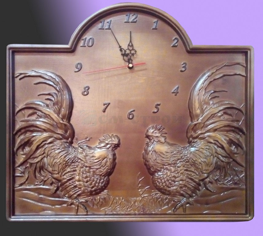 Часы резные настенные Петух