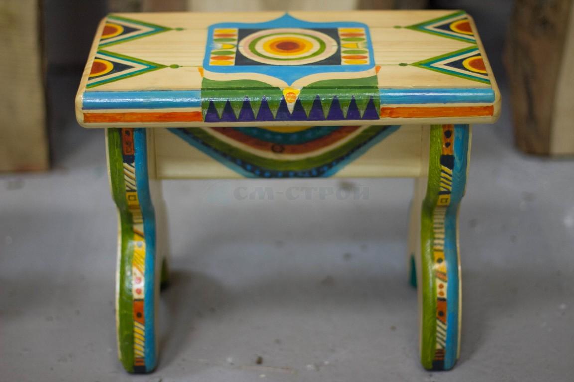 Скамейка маленькая с художественной росписью